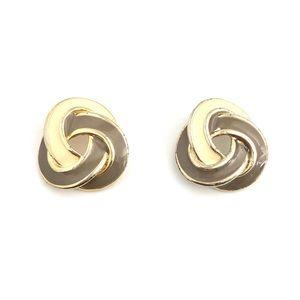 Jewelry - Vintage Enamel Knot Studs Tonal Beige Grey Gold